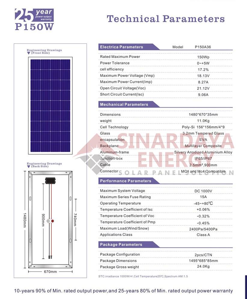 distributor panel surya 150wp bergaransi