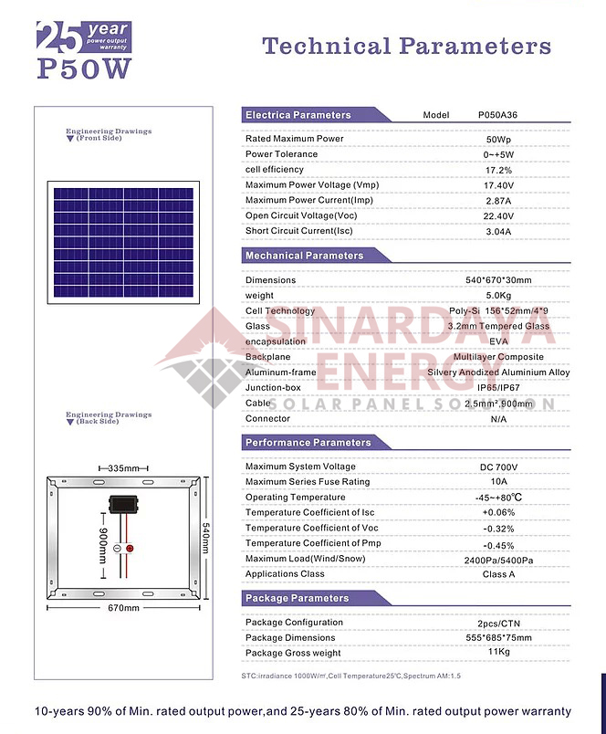 distributor solar panel 50wp
