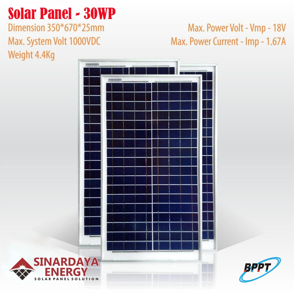 jual panel surya 30wp bppt