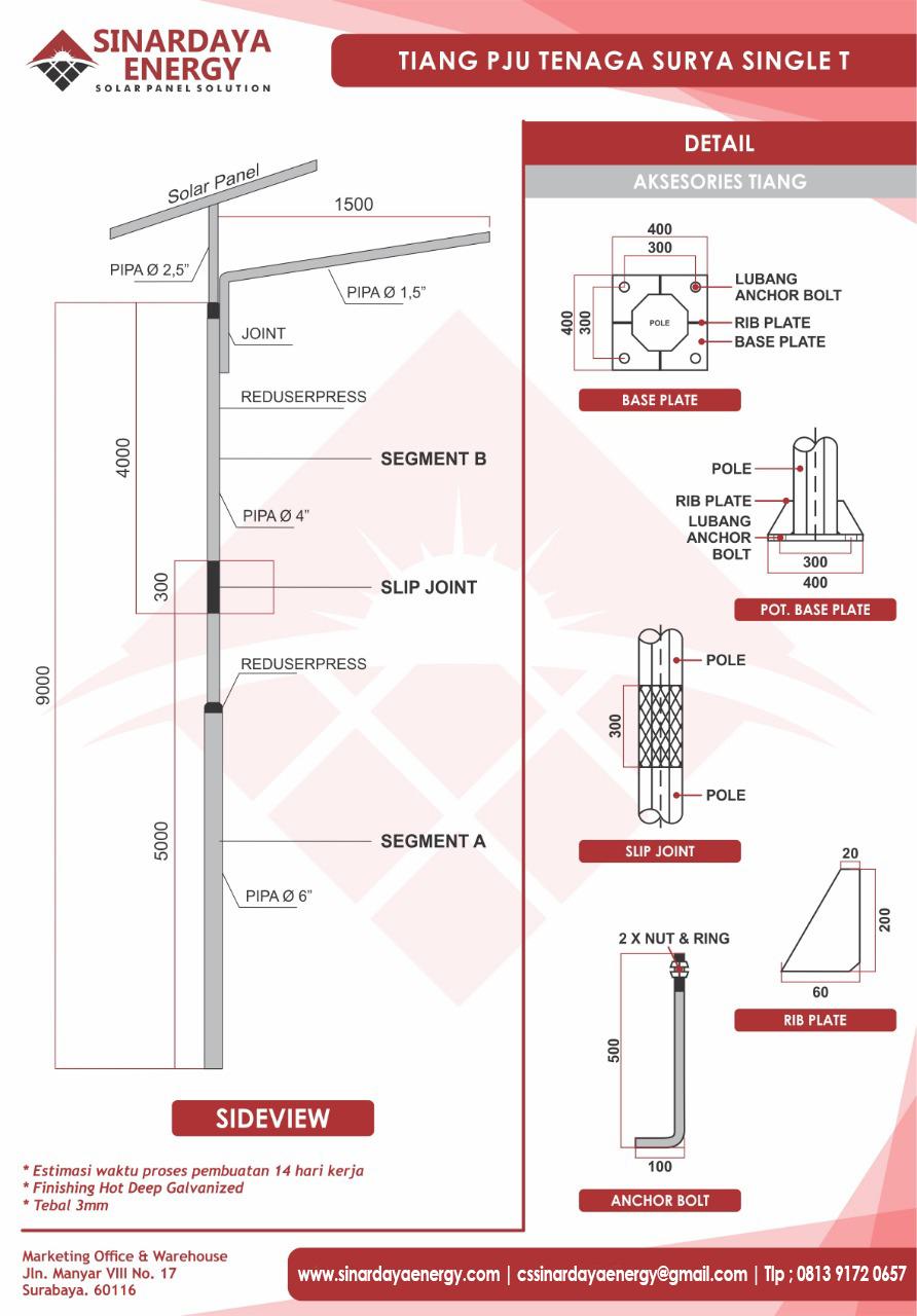 tiang PJU solarcell 9m