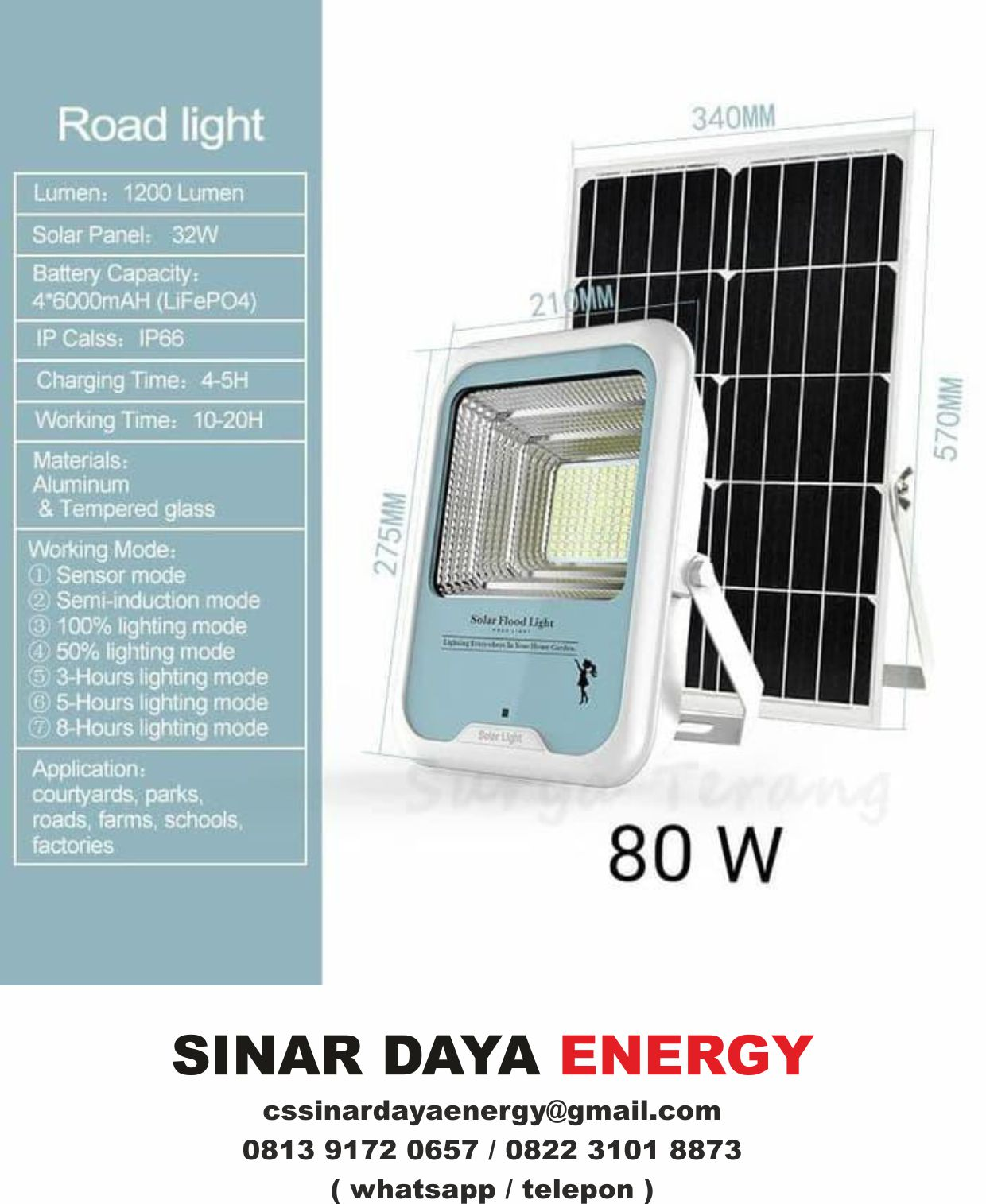 beli Lampu Sorot Tenaga Surya 80watt