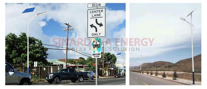 Pemasangan lampu jalan LED solarcell 2in1 50 watt