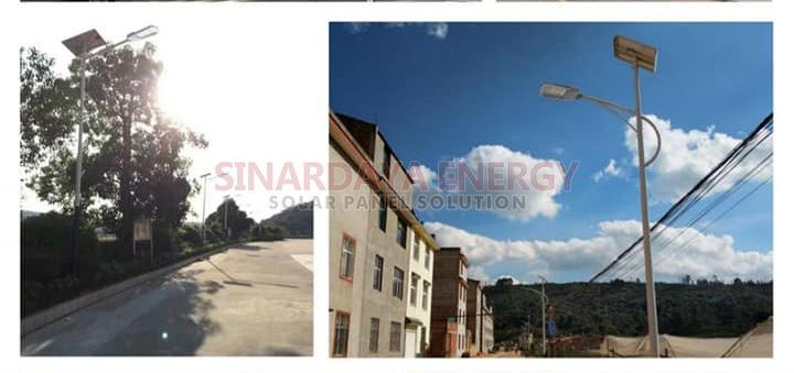 Tiang lampu PJU solarcell 2in1