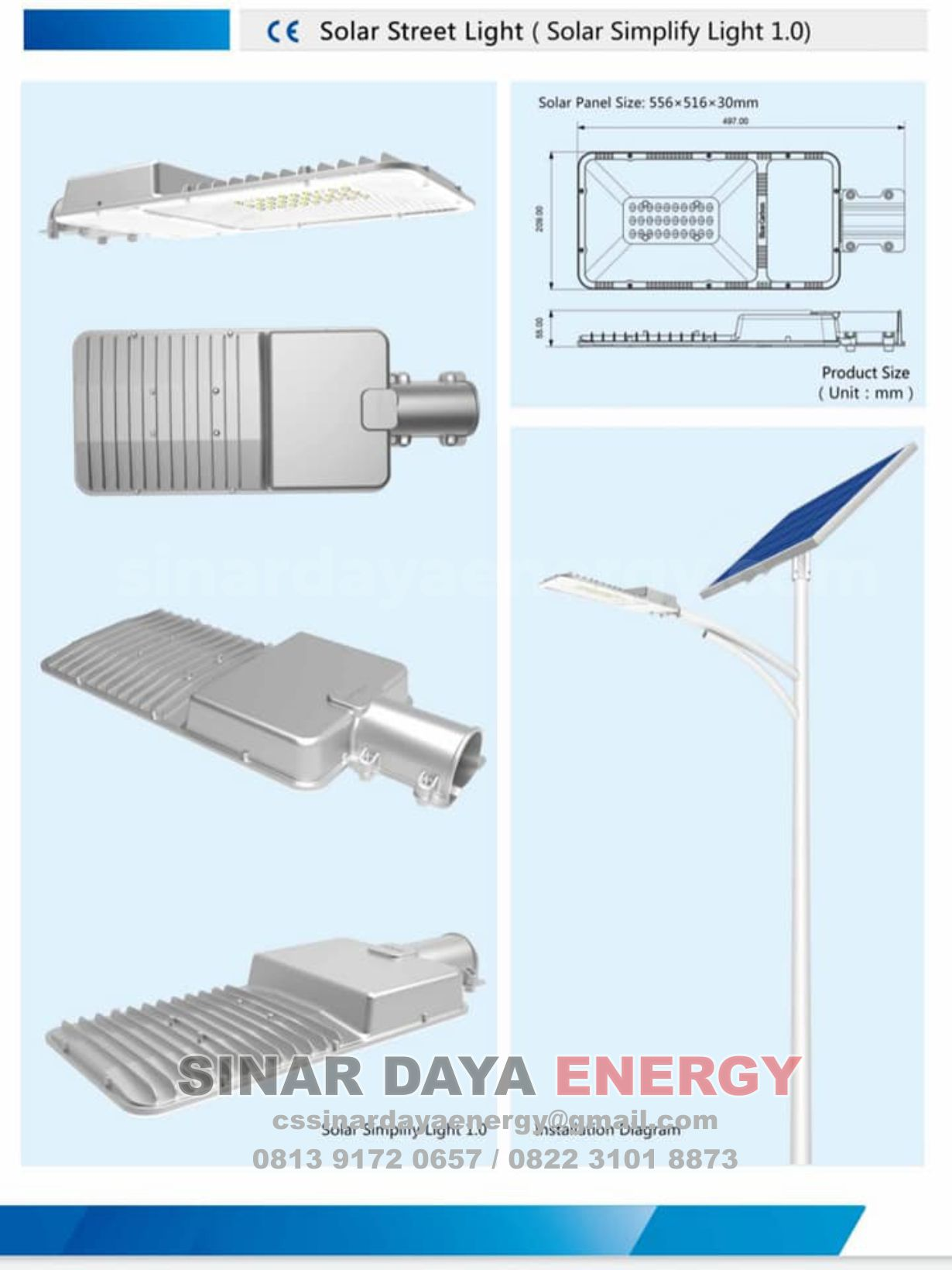 Spesifikasi Lampu LED Solarcell 2 IN 1 20W