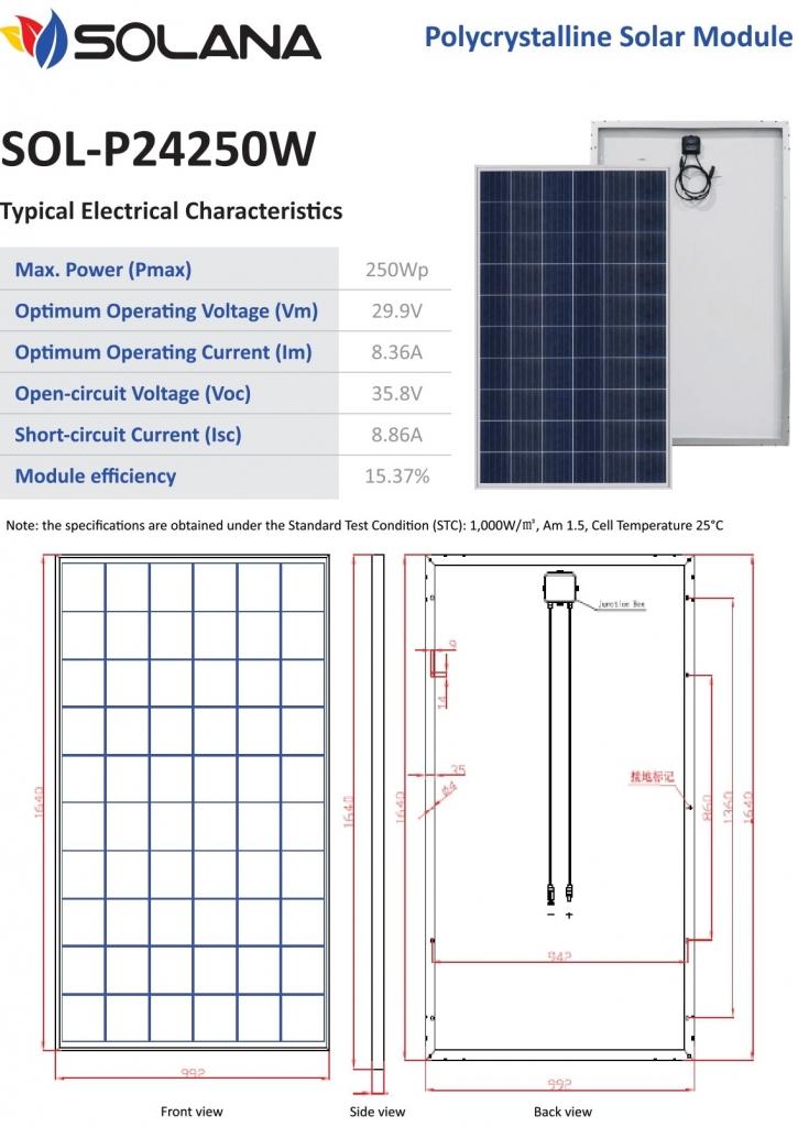 harga panel surya poly 250WP