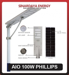 lampu jalan solarcell AIO 100w philips