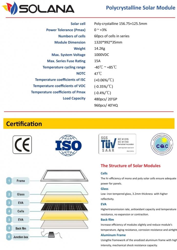 spesifikasi panel surya 200 wp solana